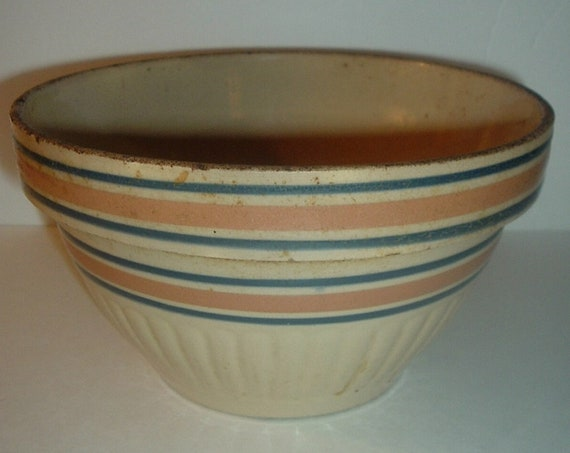 Kitchen Mixing Bowl Pottery Primitive Blue Band Vintage 8 1/4 Inch