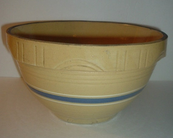 Oven Ware Kitchen Mixing Bowl Pottery Blue Band 10.5 Inch Vintage