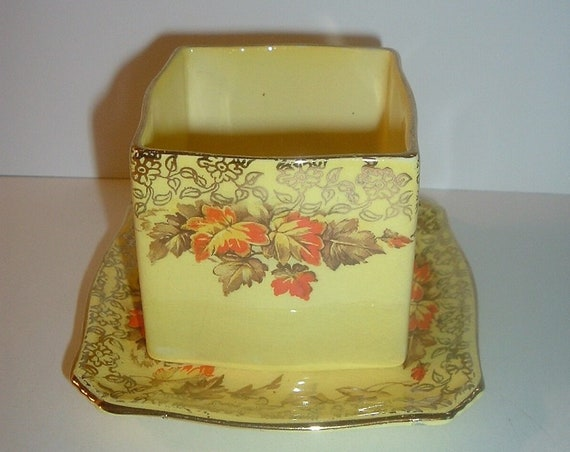 Royal Winton Grimwades Maple Leaf Square Sugar or Mustard & Underplate