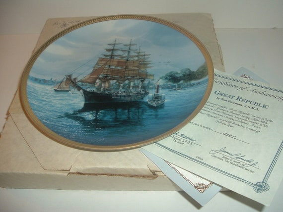The Great Republic Plate Americas Sailing Ships w/ Box and COA 1988 Hamilton collection