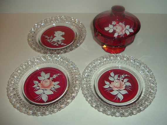 Westmoreland Handpainted Artist Signed Lidded Jar and Plates 4 pieces