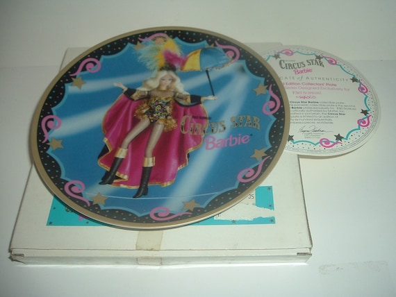 Barbie Enesco FAO Schwarz Circus Star Plate with Box COA