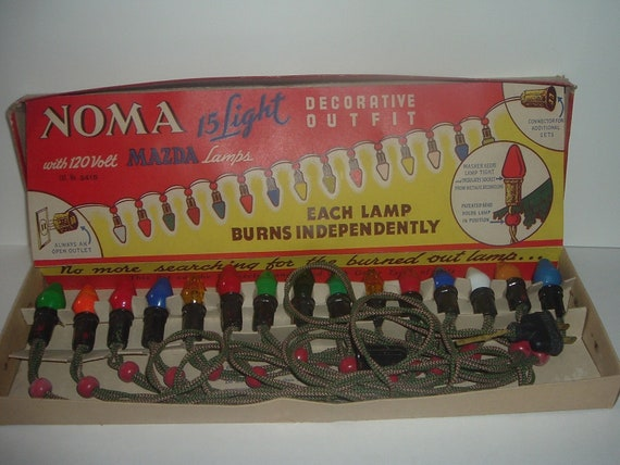 Noma 15 Light Christmas Lights with Mazda Lamps Vintage in box working