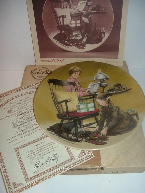 1982 Knowles Americana Holidays Fathers Day Plate w COA Box
