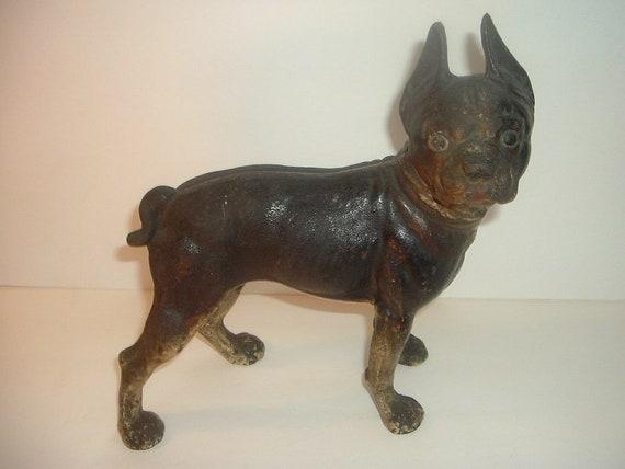 image 0 - Antique Heavy Cast Iron Boston Terrier Dog Door Stop Etsy