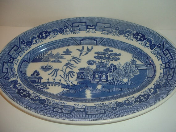 Blue Willow Platter Cauldon England Albert Pick Company Old Big