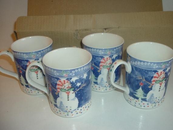 4 Noritake Epoch Mr Snowman Mugs