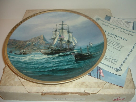 USS Constitution 1st Issue Plate Americas Sailing Ships w/ Box and COA 1988 Hamilton collection
