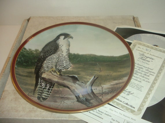 Peregrine Falcon Majestic Birds of Prey Plate w/ Box and COA 1984 Hamilton collection