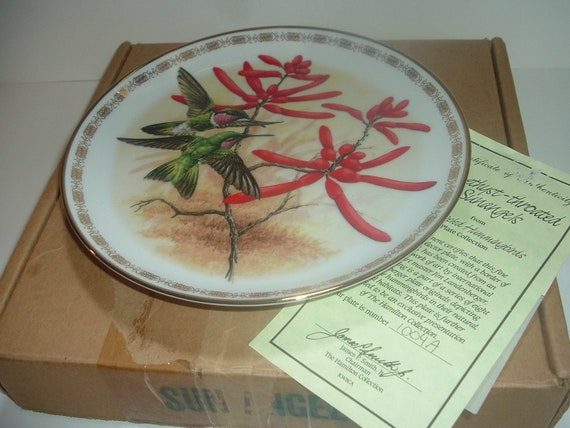 Hamilton Collection Amethyst Throated Sunangels Hummingbird by Landeberger Plate w Box COA