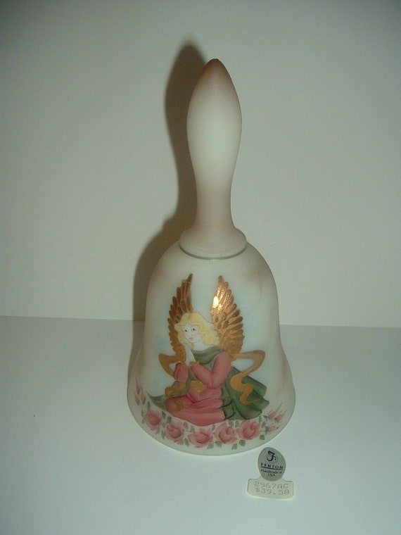Fenton Glass Hand Painted Artist Signed Limited Ediiton Angel Bell