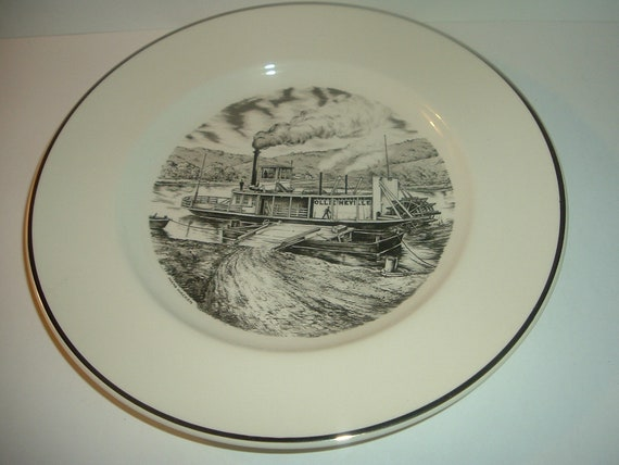 1984 Pottery Festival Plate The Ferry Boat Ollie Neville East Liverpool Ohio