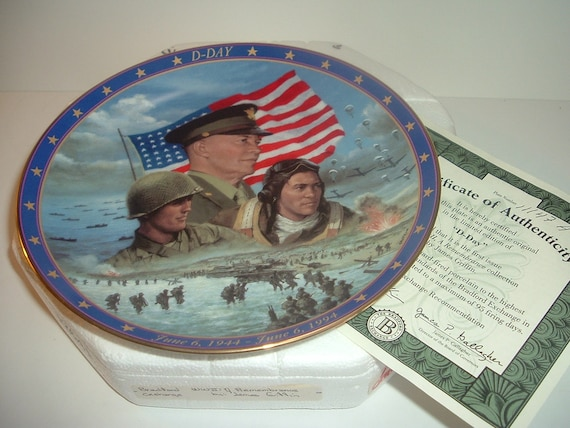 World War II 1st Issue Plate D-Day w Box and COA 1994
