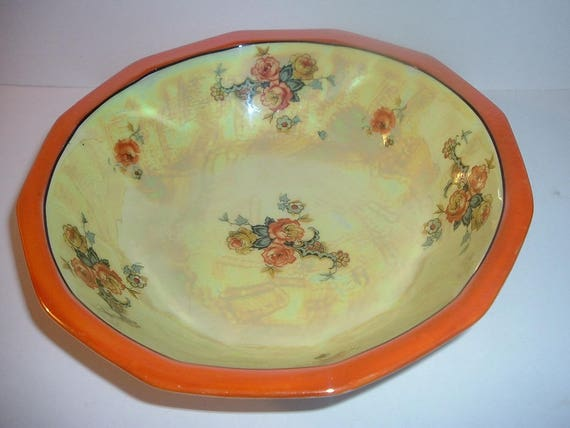 Vintage signed Germany Yellow and Orange Porcelain Bowl