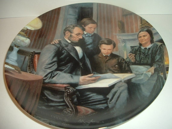 Lincoln Man of America The Family Man Plate Edwin Knowles 1988