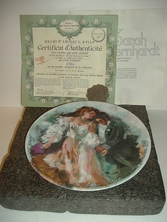 1986 Henri Darceau Limoges Sarah Bernhardt Plate w Box and COA
