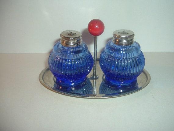 Cobalt Glass Shakers on Chrome Holder Set