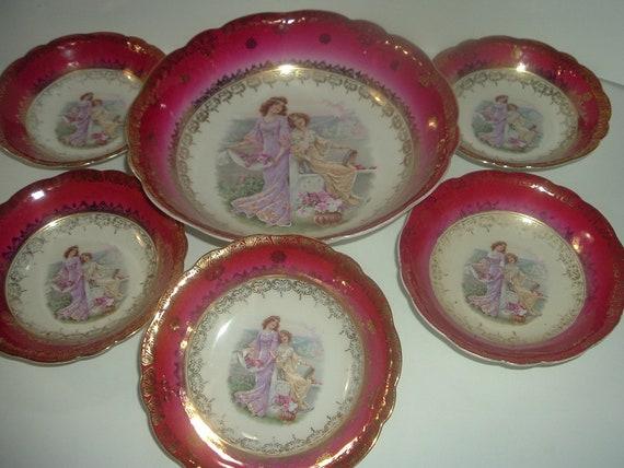 6 Pc Lady Portrait Bowl Set Bavaria Vintage