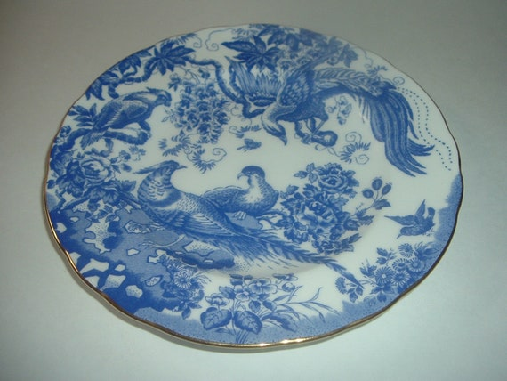 Royal Crown Derby England Blue Aves Plate Bone China