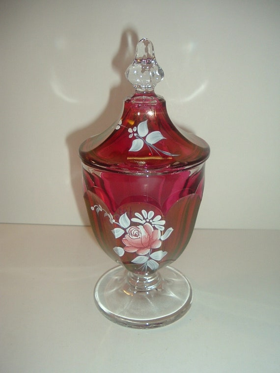 Westmoreland Handpainted Artist Signed Ruby Stain Lidded Compote