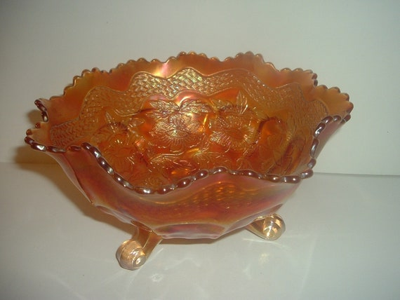 Marigold Carnival Floral Pattern Footed Bowl