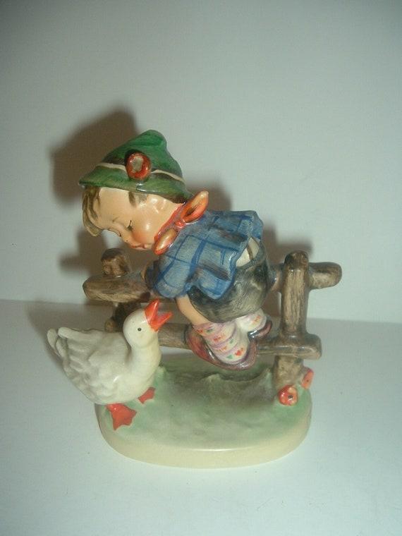 Hummel HUM 195 Barnyard Hero Boy on Fence with Duck Figurine TMK 5