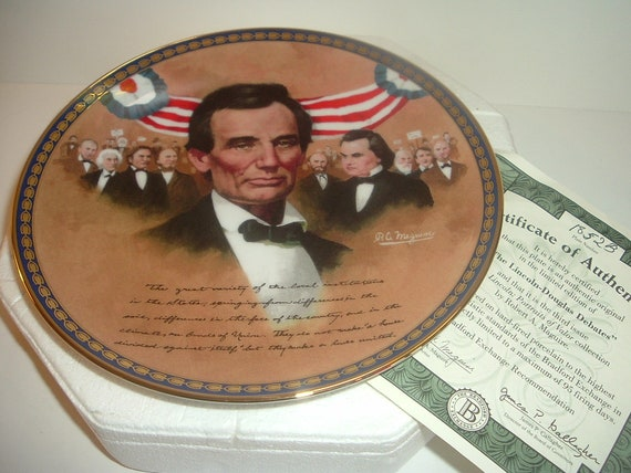 President Abraham Lincoln Portraits of Valor Lincoln-Douglas Debates Plate w Box and COA