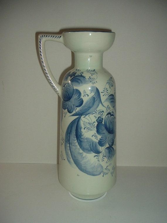 """Big Delft Made in Belgium 15"""" Ewer Vase"""