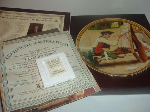Norman Rockwell Sign of the Times Plate w/ Box and COA 1988 Edwin Knowles