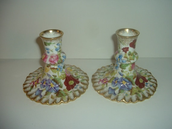 Hammersley England Queen Anne Floral Candlesticks Candle Holders