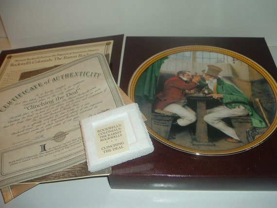 Norman Rockwell Clinching The Deal Plate w/ Box and COA 1987 Edwin Knowles