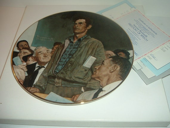 Norman Rockwell Freedom of Speech 1st Issue Plate w/ Box and COA 1981 Four Freedoms