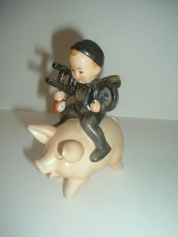 Goebel Chimney Sweep Boy Riding Pig Figurine
