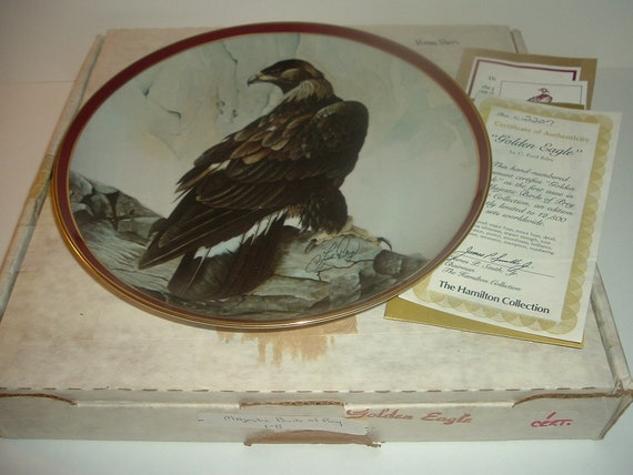 Golden Eagle 1st Issue Plate Majestic Birds of Prey w/ Box and COA 1983 Hamilton collection