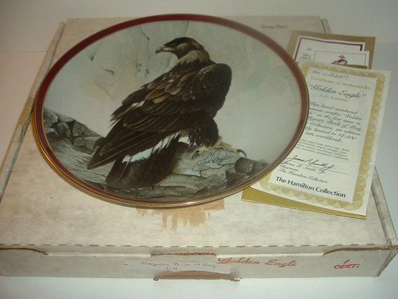 Golden Eagle 1st Issue Plate Majestic Birds of Prey w/ Box and COA 1983 Hamilton collection