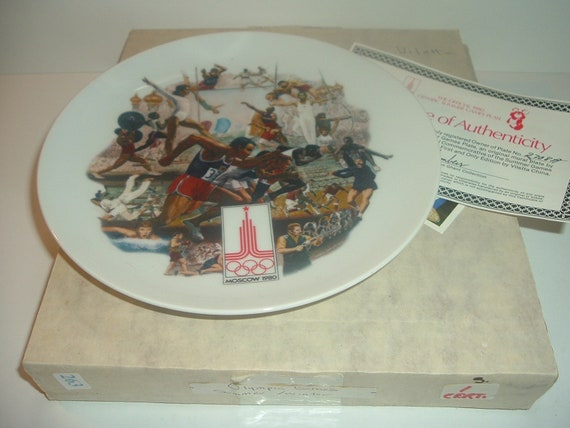 1980 Summer Olympics Moscow Plate by Vilette w/ Box COA