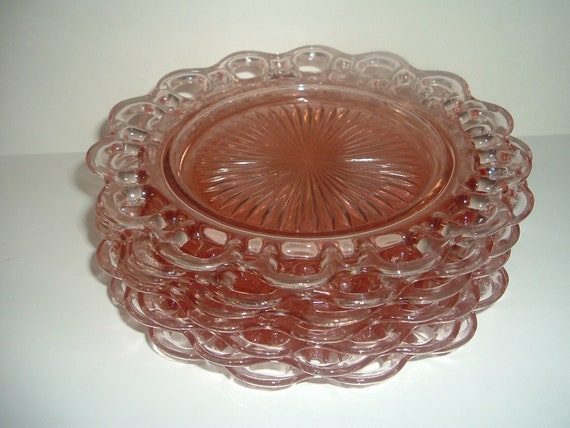 "7 Hocking Old Colony Open Lace Edge 8.25"" Luncheon Plates Pink Depression Glass"