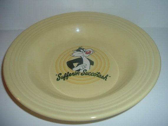 "Homer Laughlin Fiesta Yellow Sylvester Warner Bros 9"" Soup Bowl"