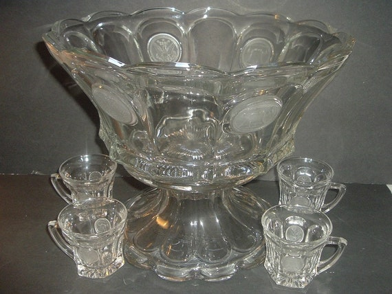 Fostoria Coin Glass Punch Bowl with Stand and 4 Cups