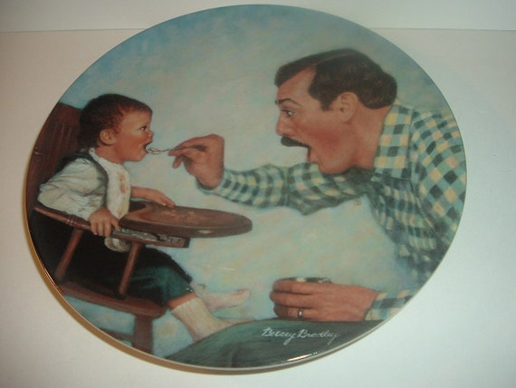A Father's Love Open Wide First Issue Plate 1984 Vintage