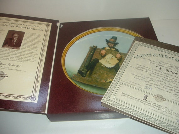 Norman Rockwell Ye Glutton Rockwell Colonials Plate Box COA 1988 Edwin Knowles