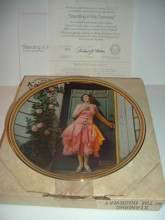 1983 Norman Rockwell Standing in the Doorway Plate w/ Box & COA