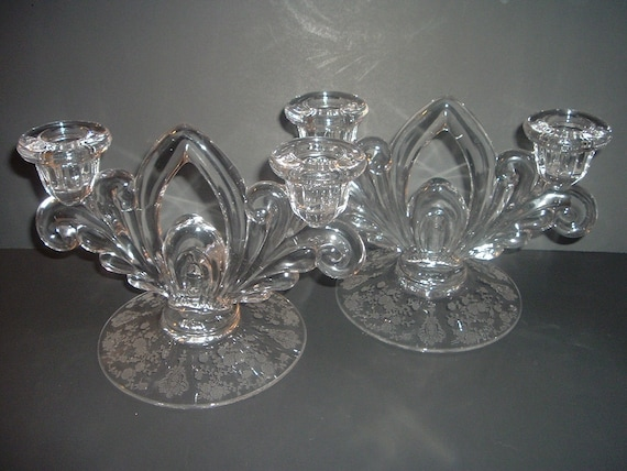 Pair Cambridge Glass Rosepoint Double Candleholders