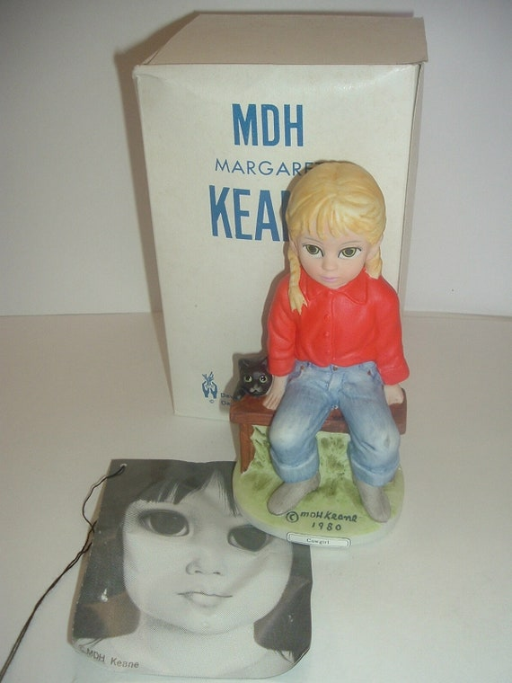 Dave Grossman Margaret Keane Big Eyed Cow Girl Cowgirl Figurine in Box 1981