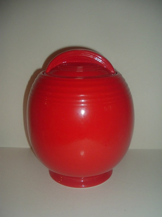 Hall China USA Red Cookie Jar Superior Quality Kitchenware Vintage