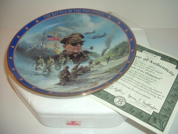 World War II Battle of the Philippines Plate w Box and COA 1994