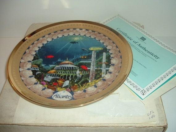 Atlantis Lands of Fable Plate Ghent Porcelaine Etienne w Box COA 1982