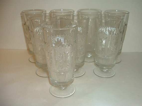 Westmoreland Glass Princess Feather Footed Iced Tea Glasses Tumblers Set of 8