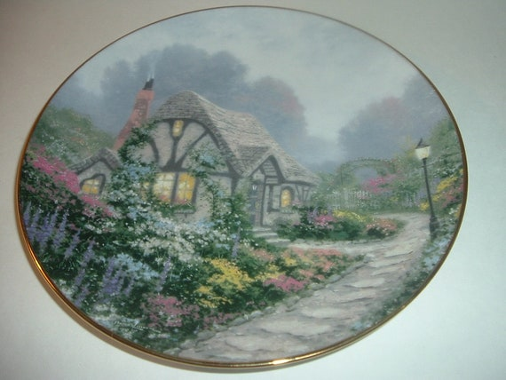 1991 Knowles Thomas Kinkade Chandlers Cottage 1st Issue Plate
