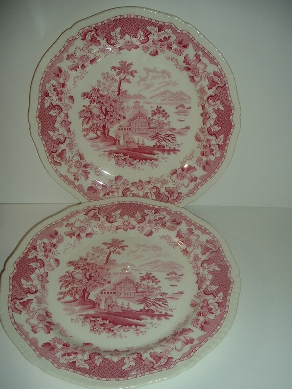 "2 Woods Burslem England Seaforth 10"" Plates Red"